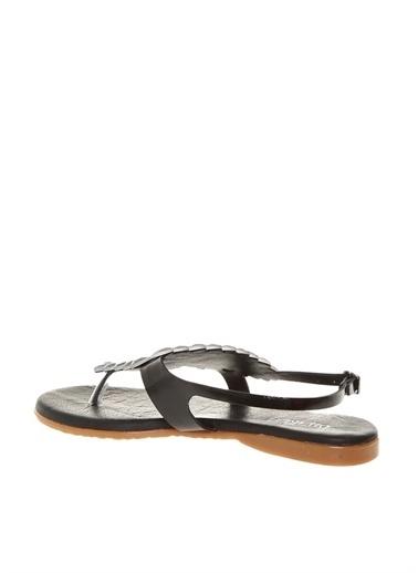 Divarese Divarese Kadın Rugan Parmak Arası Taşlı Sandalet Siyah